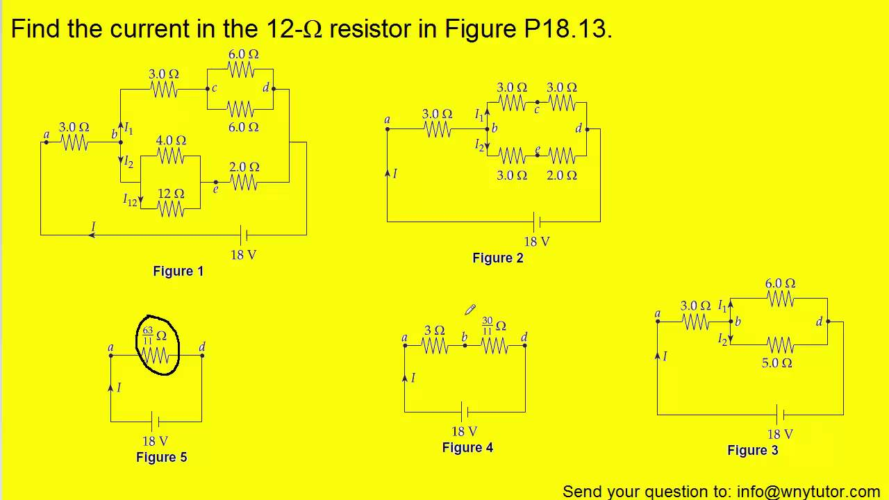 Find The Current In The 12 W Resistor In The Figure Below Youtube