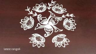 latest sunflower rangoli design with 7x4 middle dots || creative flower kolam designs