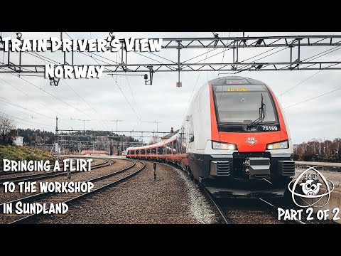 TRAIN DRIVER'S VIEW 360: Taking A FLIRT To The Workshop In Drammen Part 2 Of 2