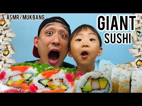asmr/mukbang---giant-sushi-roll!!!-(cali-rolls-with-salmon-tuna)