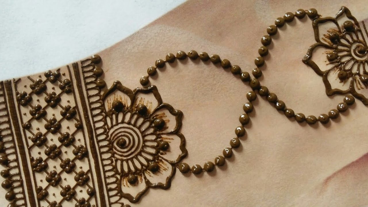 Karwachauth special jewellery mehndi design for back hands | Chain style gol tikki mehndi design