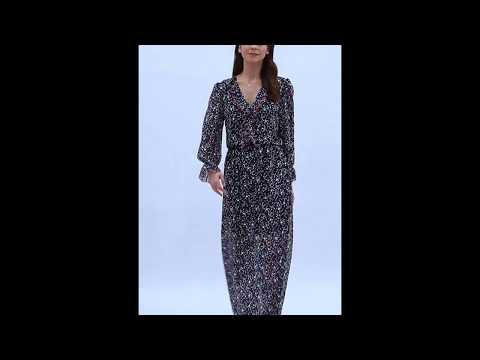Video: Długa sukienka w kwiaty z żabotem
