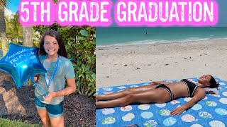 5TH GRADE GRADUATION DAY AT SCHOOL! BEACH DAY + ANOTHER DRIVE BY GRADUATION PARADE! EMMA AND ELLIE