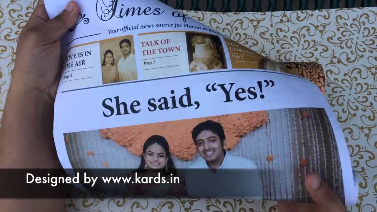 Newspaper Indian Wedding Invitation