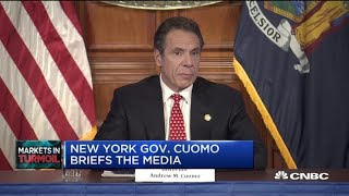 New york governor andrew cuomo holds a press conference after meeting with president trump to discuss coronavirus aid for the state.for access live and ex...