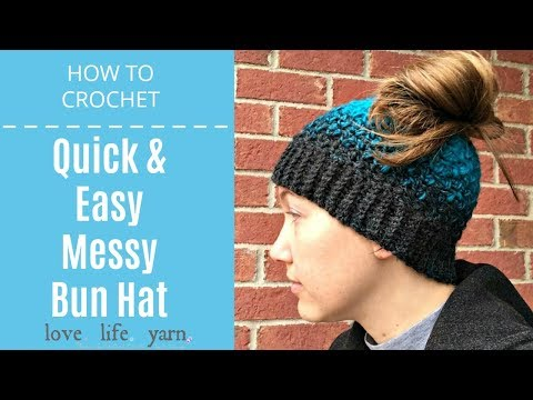 b137079016014 HOW TO CROCHET A MESSY BUN HAT BEANIE FOR BEGINNERS - YouTube