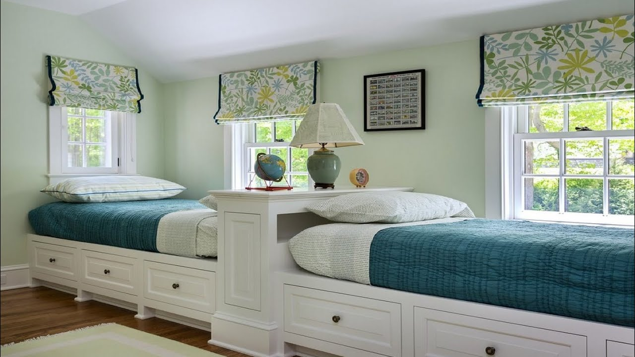 Cool twin bedroom design with double bed for teenage room for What size bed for a 10x10 room