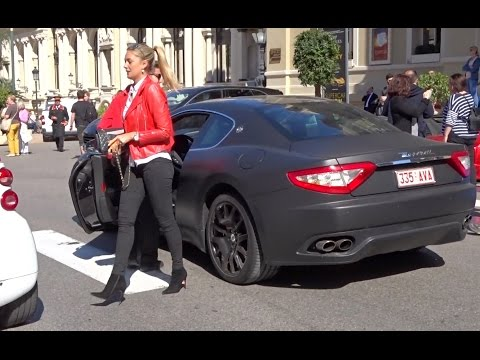 Blond Girl in black mat Maserati in Monaco