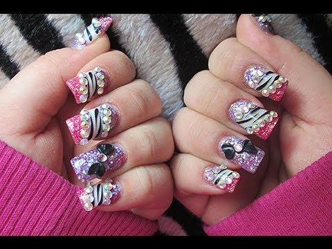 Pink And Purple Acrylic Nails With Zebra And Crystals Youtube