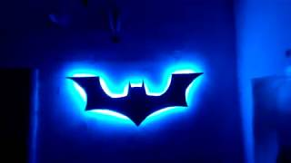 Batman logo wall lamp decoration with LED. DIY