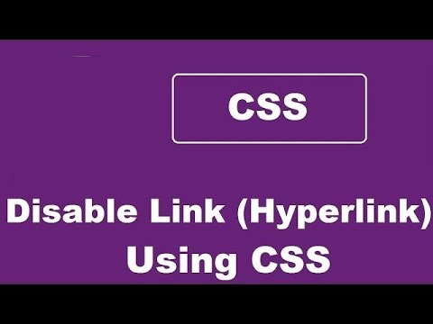 How To Disable A Link Using Css - Disable HyperLink