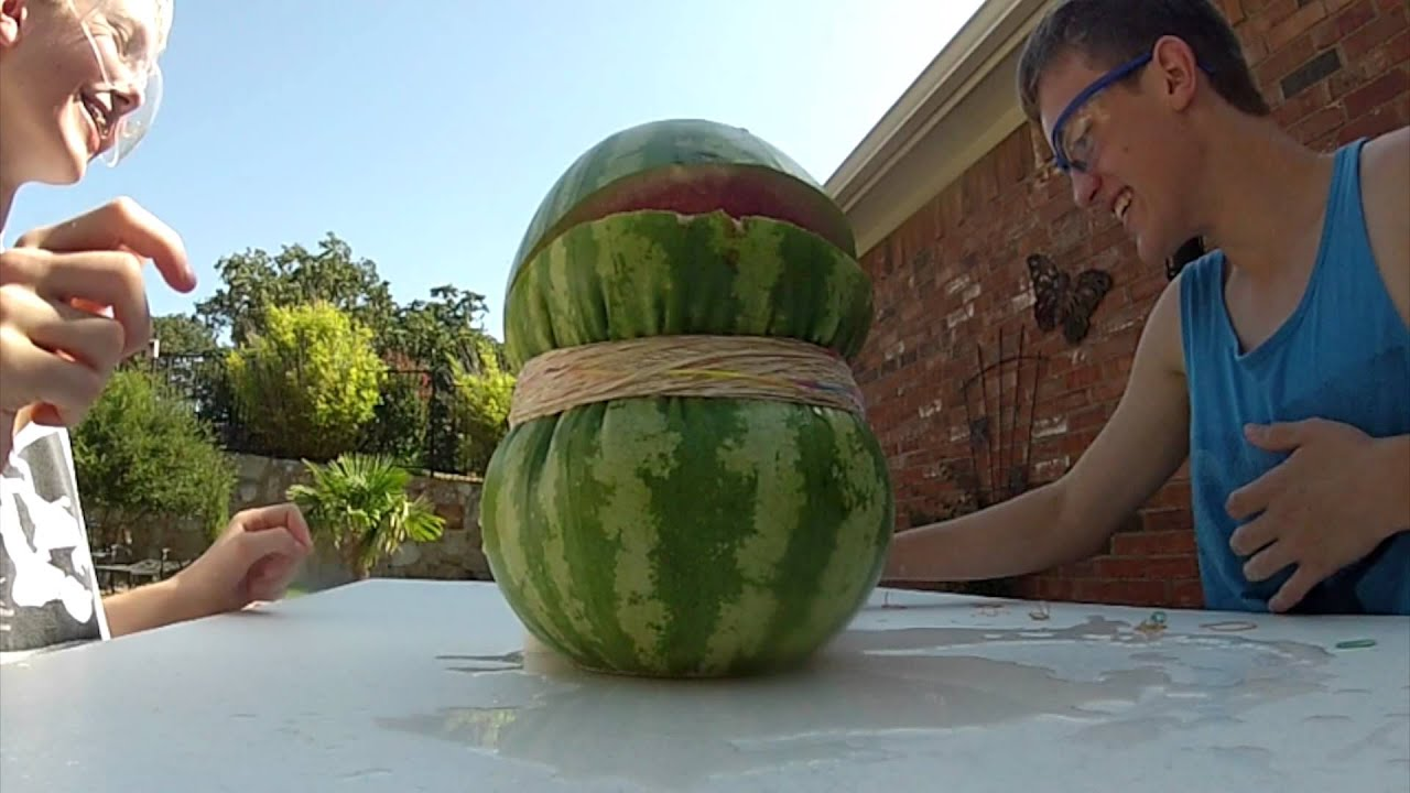 Watermelon Vs Rubber Bands Youtube