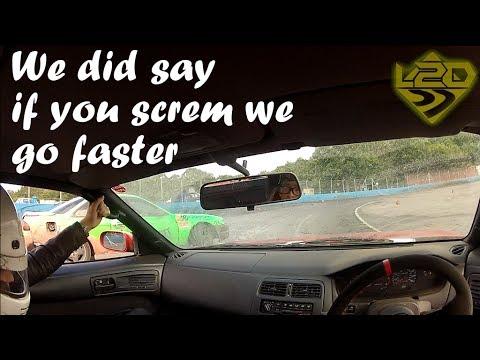 Girl screams in a drift car - Learn2drift passenger rides