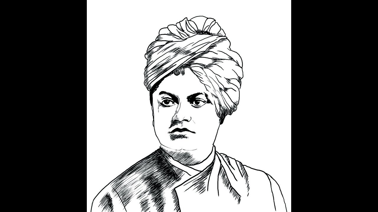 How to draw swami vivekananda face pencil drawing step by step