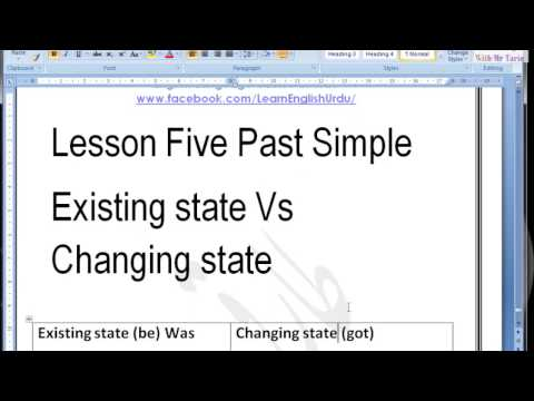 Lesson Five Past Simple Existing state Vs Changing state In Urdu By Tariq Aziz