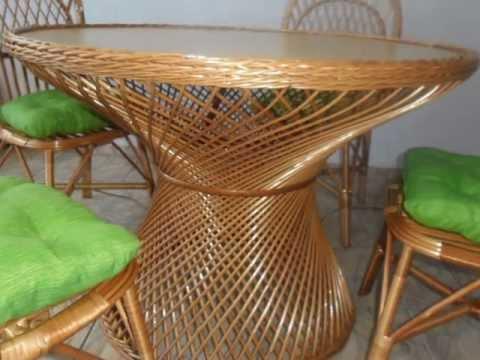 Jogo de mesa de jantar rattan com 4 ou 6 cadeiras vime rj - Mesas de rattan ...