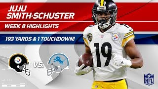 JuJu Smith-Schuster Rides to Victory w/ 193 Yards! 🚲 | Steelers vs. Lions | Wk 8 Player Highlights