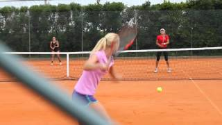 Urszula Radwanska and Elena Vesnina practicing together in Oeiras, Portugal