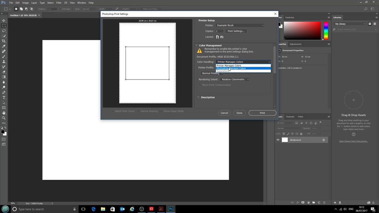 Using ICC printer profiles with Adobe Photoshop CC