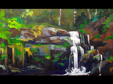 Beginner Wooded Waterfall Landscape Tutorial Acrylic