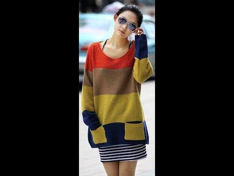Разноцветный свитер спицами для девочки