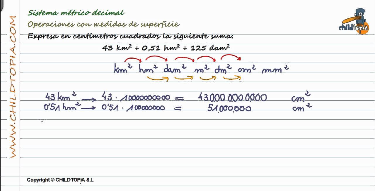 Sistema métrico decimal: Medidas de superficie.1º de eso ...