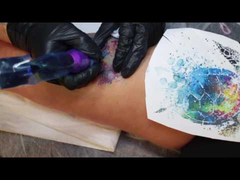 turtle watercolor tattoo - inkjecta flite nano elite