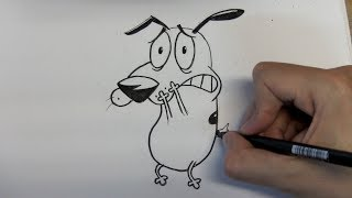 How to draw Courage the Cowardly Dog step by step - Things to Draw