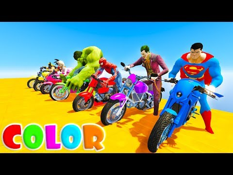 LEARN COLOR MOTORCYCLES and MSCLE CAR Funny Cartoon for kids and babies 3D  animation