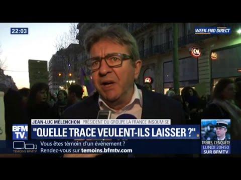 """Violences policières: pour Jean-Luc Mélenchon, Christophe Castaner """"va laisser une trace de sang"""""""
