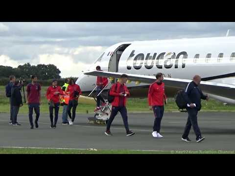 Arrival at St Brieuc Armor Airport of the plane of the PSG with Neymar on board