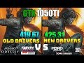NVIDIA Drivers 419.67 vs 425.31 On GTX 1050Ti Test in 6 Games
