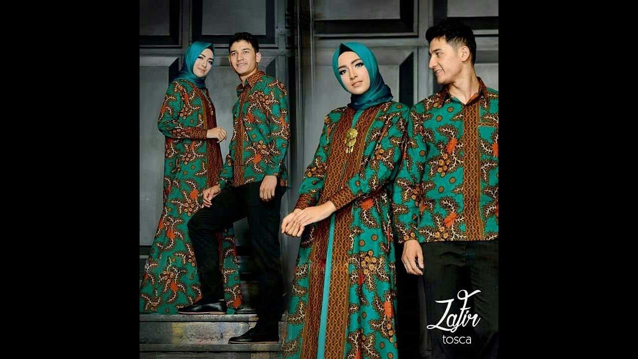 Gamis Batik Kombinasi Kain Polos Model Pesta Sarimbit 2018