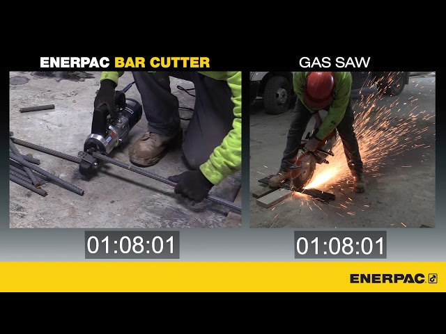 Speed Comparison - Cutting Rebar with an Enerpac Bar Cutter v Gas Saw | Enerpac