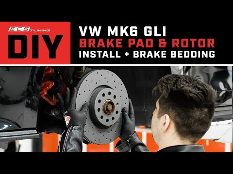 How to Install VW GLI Brake Pads & Rotors and Brake Bedding (2010-2014 MK6) | DIY | ECS Tuning