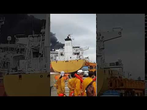 VIDEO 2 STOLT GROENLAND and BOW DALIAN tanker explosion, Ulsan port to ODJFELL
