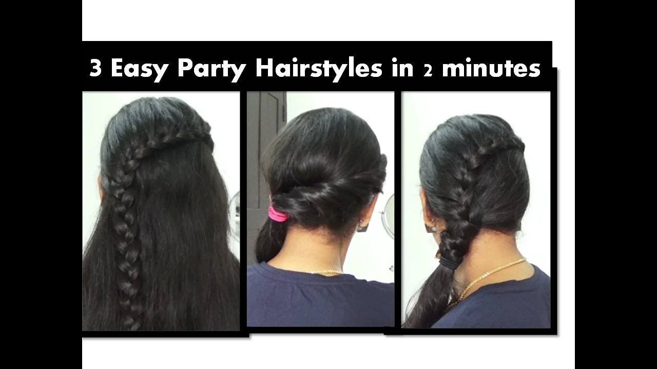 Easy Simple Party Hair Style Under 2 Minutes Starnaturalbeauties Youtube