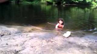Braelynn swimming in Rancocas Creek