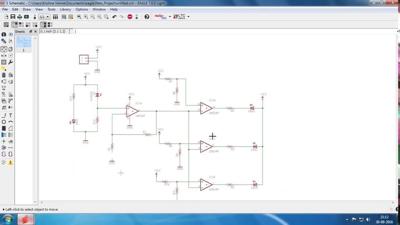 Parking Sensor Circuit using IR Transceiver and LM324 | EAGLE CAD ...