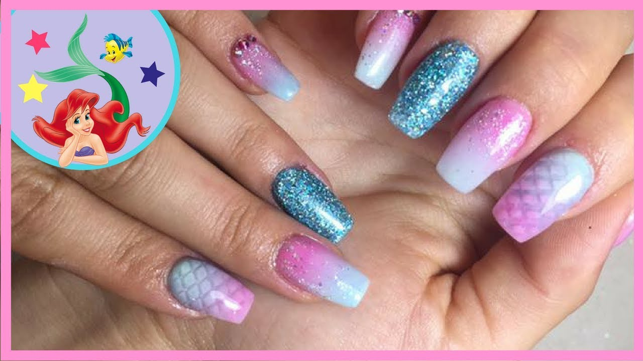 Uñas de sirena paso a paso| Mermaid Nails| Dulce FloresB - YouTube