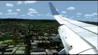 737 800 landing wing view ybbn hd