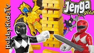 Power Rangers Get JENGA GOLD Game! Goldar + Rita Repulsa Steal Gold Game HobbyKidsTV