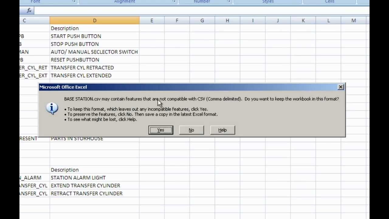 PLC Programming Create a CSV file