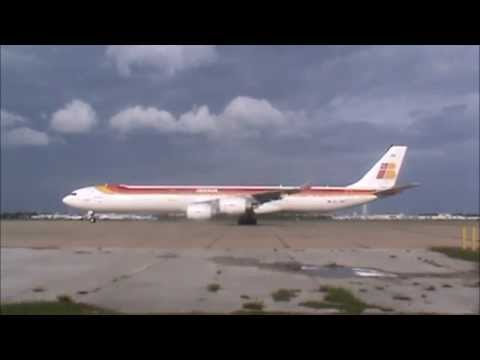 Iberia Airbus Industrie' A340-600 Engine Start and taxi@MCO