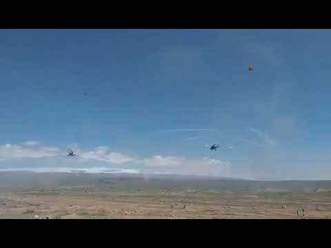 Bертолетная эскадрилья на полигоне Баграмян