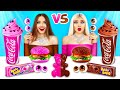 Chocolate Food vs Real Food Challenge | Eating Only Sweet 24 Hours! Mukbang by RATATA COOL