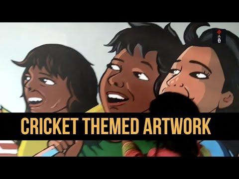 Government Art College Students Create Artwork On Cricket At The Eden Gardens, Kolkata
