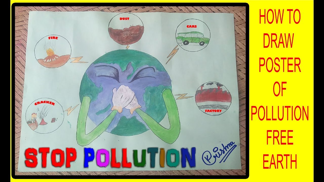How to draw stop pollution color poster drawing for kids mayank sharma dj krishna sharma