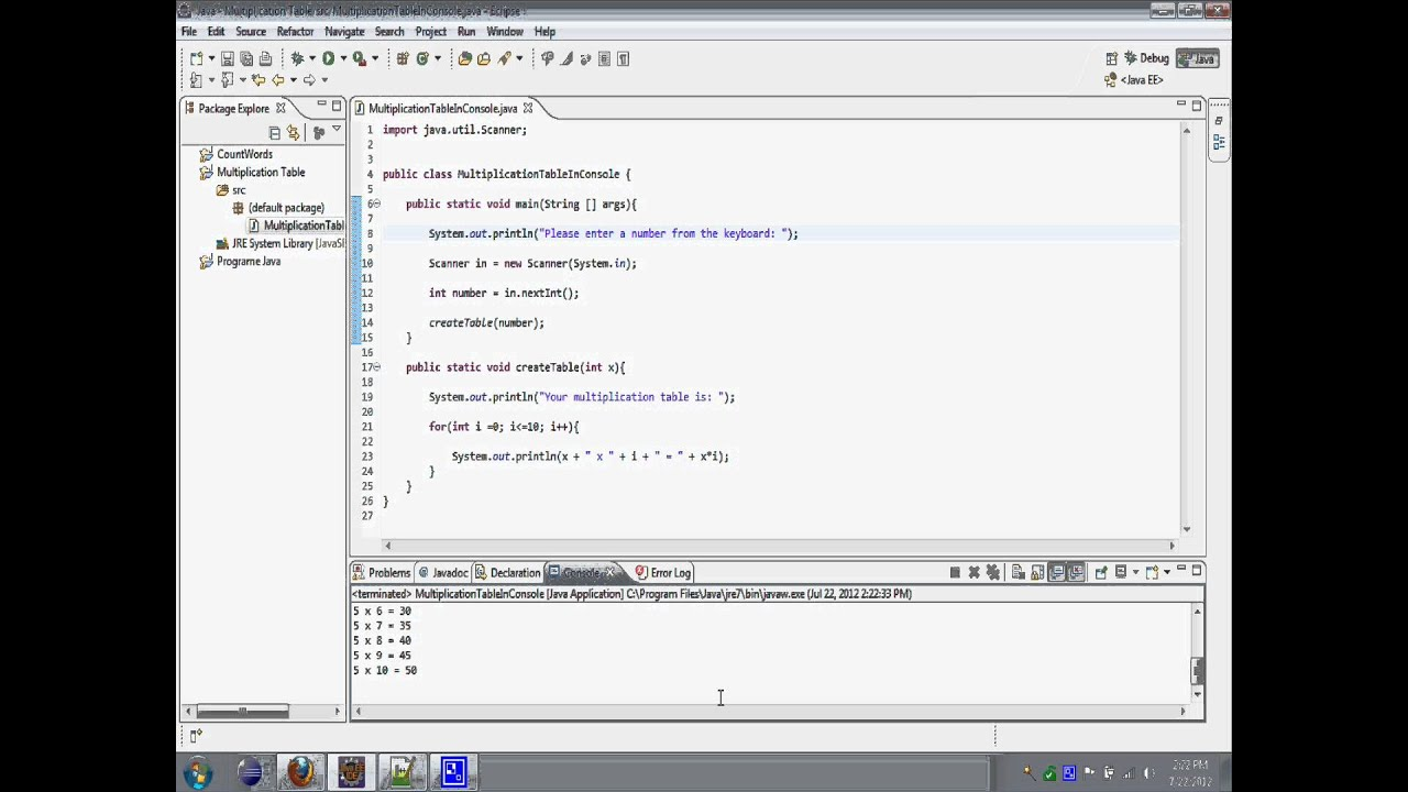 Multiplication Table Java Console Application