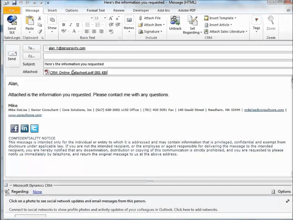 Using Templates in CRM-Outlook Emails - YouTube
